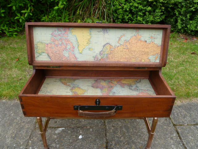 Upcycled and repurposed coffee table and storage from an old vintage beautiful world map decoupaged inside and handmade copper legs from reclaimed copper pipe check out our etsy shop for gumiabroncs Choice Image