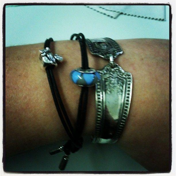 My Leather Pandora Bracelet with one bead and a buddah charm & my Spoon Bracelet!!