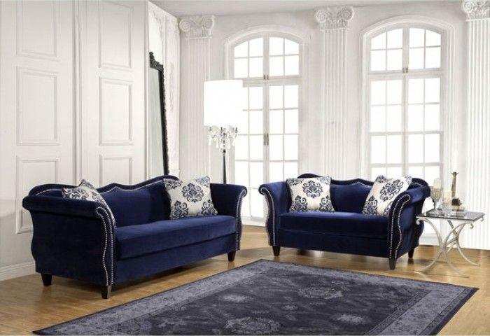 Best Zaffiro Traditional Royal Blue Fabric Living Room Set 400 x 300