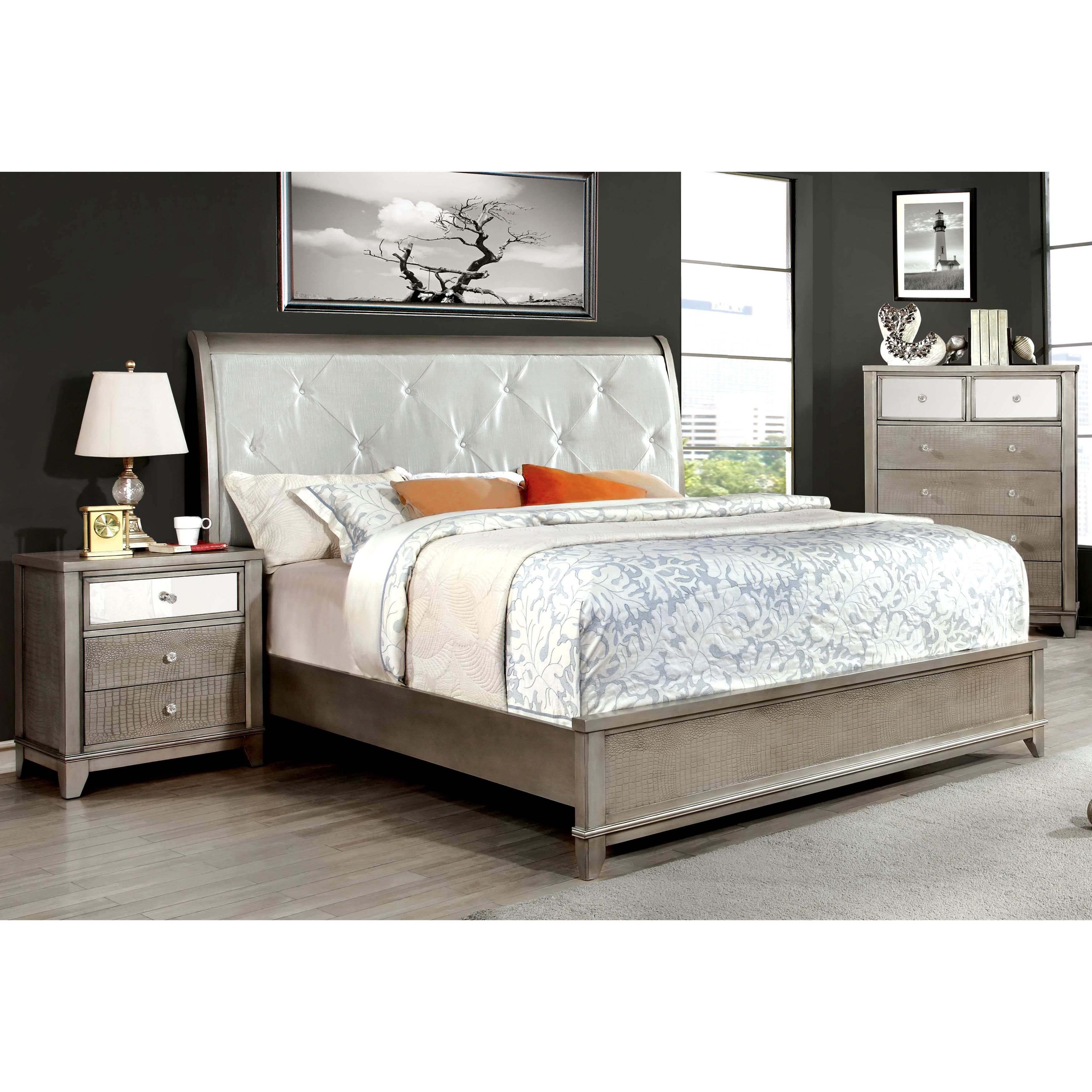 Furniture Of America Divonne Crocodile Silver 2 Piece Bed And
