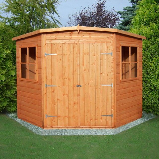 perfect for those difficult corners the 7 x 7 shire corner shed provides plenty of storage space