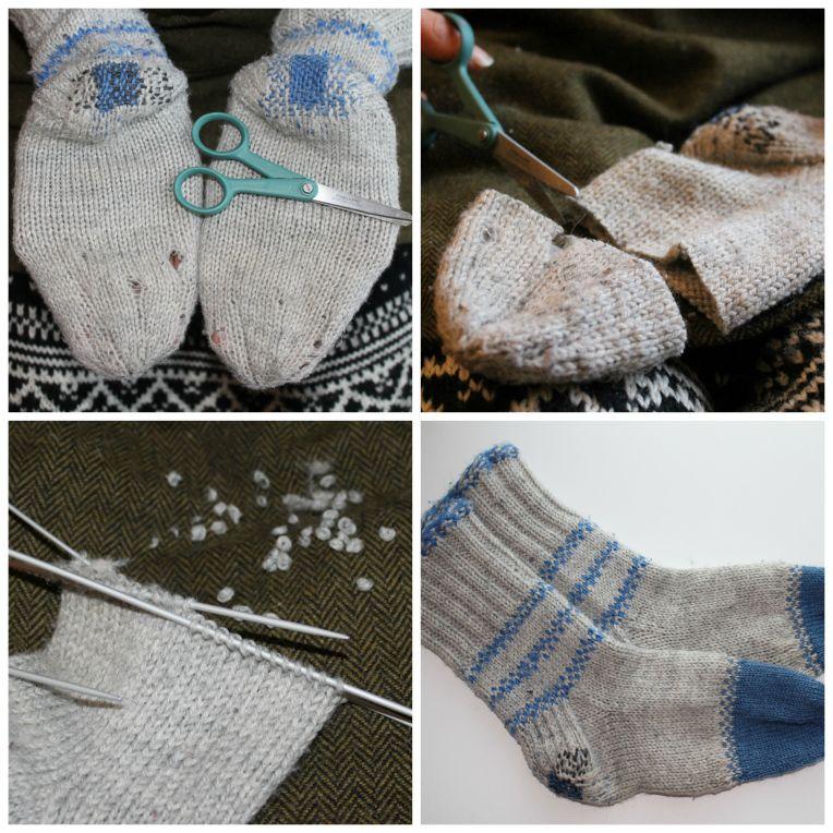 Villasukkien korjaaminen neulomalla uudet terät. Mending woollen socks. terittäminen - Korjaussarjakollektiivi