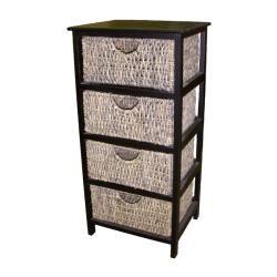 Compact 4 Drawer Wicker Basket Storage Shelf | Overstock.com Shopping   The  Best