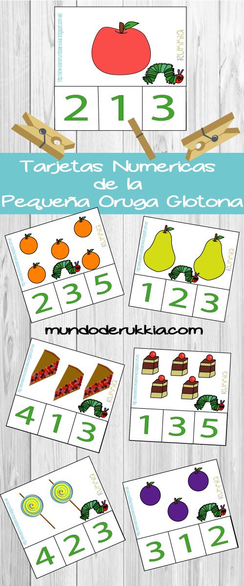 Tarjetas Numericas de la Pequeña Oruga Glotona | Imprimibles para ...