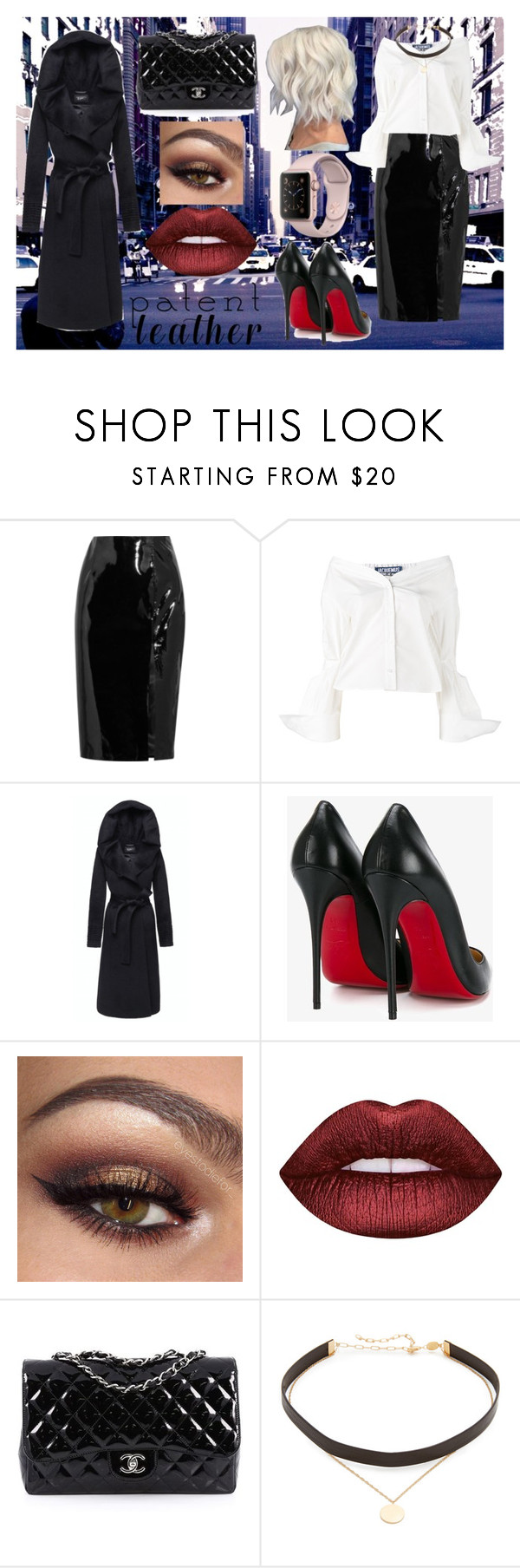 """""""Patent Leather"""" by real-21c ❤ liked on Polyvore featuring Topshop Unique, Jacquemus, Christian Louboutin, Lime Crime, Chanel and Jennifer Zeuner"""