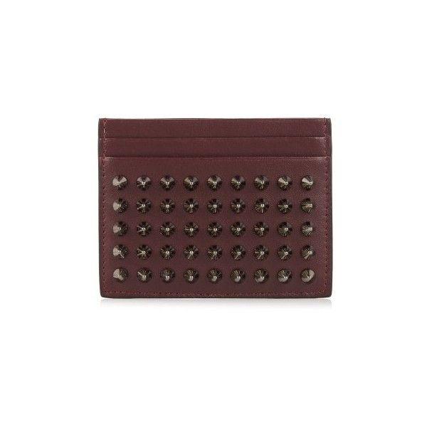 Christian Louboutin Kios Simple Spike Leather Cardholder Featuring Polyvore Men S Fashion Men S Leather Wallet Mens Card Holder Leather Christian Louboutin Men
