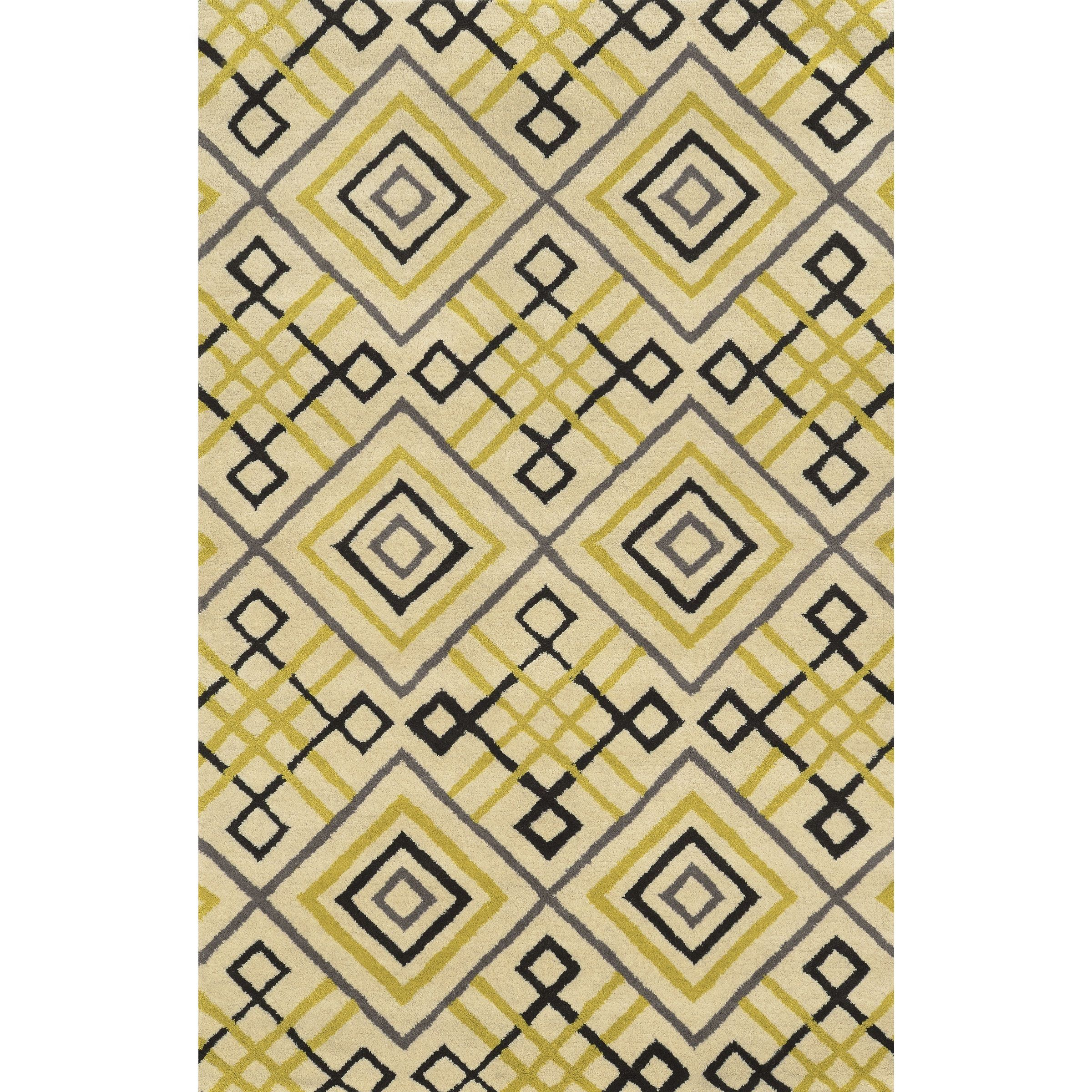 Rizzy Home Beige/ Gold/ Black/ Charcoal Bradberry Downs Collection 100-percent Wool Accent Rug (5' x 8') (Ivory), Size 5' x 8'