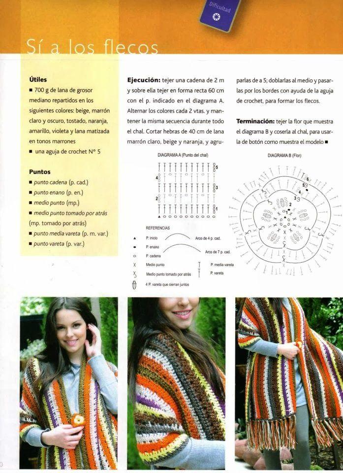 Manton Chal de Flecos Patron - Patrones Crochet | Tejiendo a dos ...