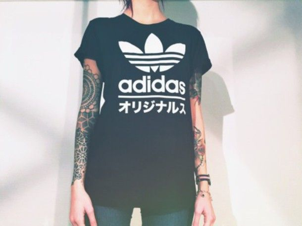 68c6bdc632ab0 t-shirt adidas adidas shirt adidas wear sporty black blackshirt black and  white tumblr tumblr shirt cool cool shirt pale japanese writing