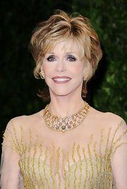 Jane Fonda Diamond Collar Necklace.  I notice Jane wears a lot of mesh - very clever way for an older woman to show some skin.