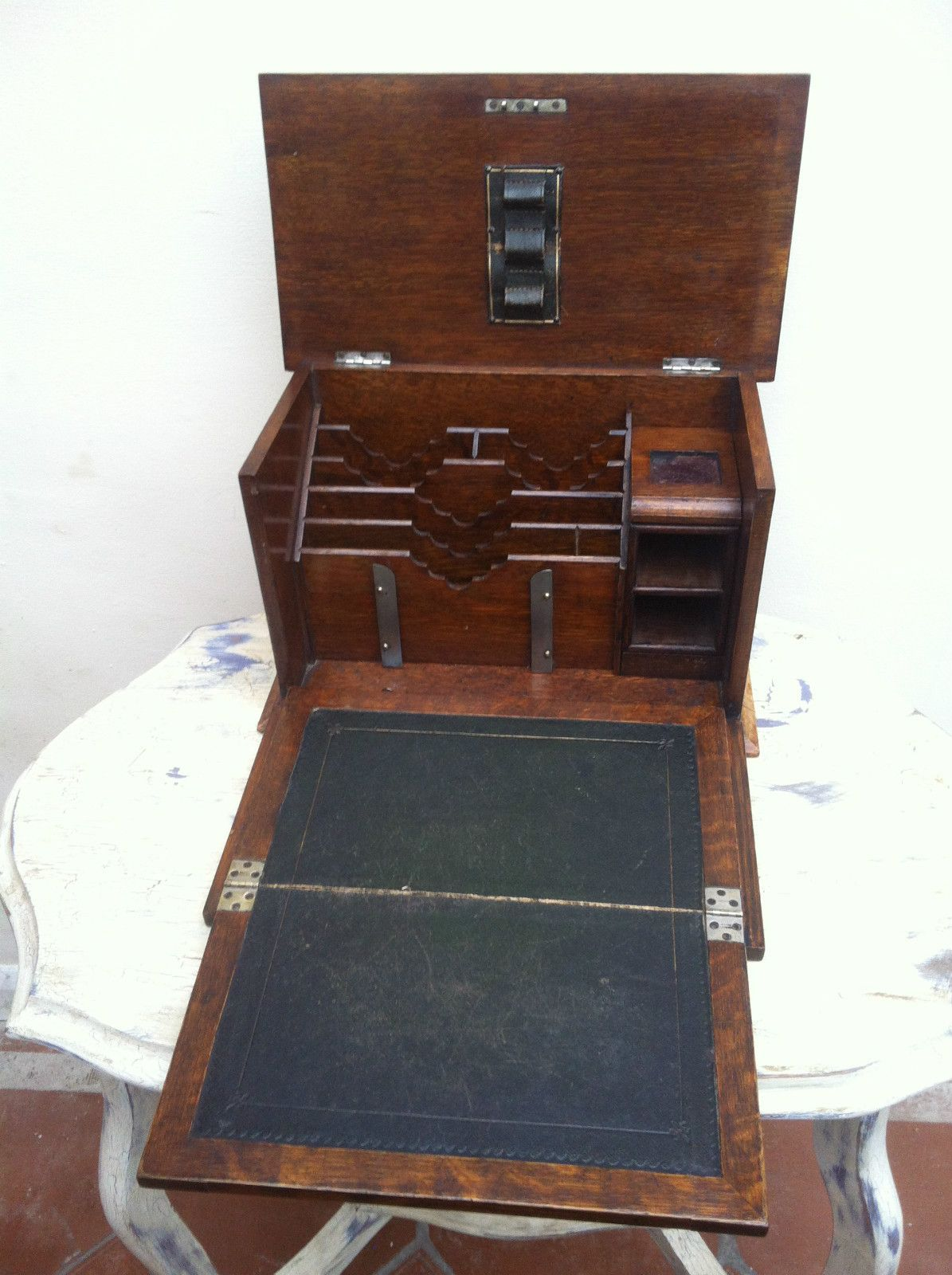 Antique Stationery Box Writing Slope Wooden Boxes Stationary Campaign Furniture