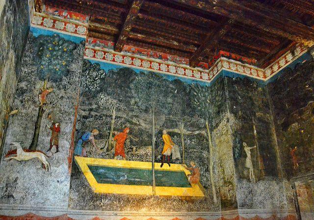 Fresques De La Chambre Du Cerf 1343 Atelier Franco Italien Palais Des Papes Avignon Au Centre Peche De Brochets Dans Un V Avignon Fresco Fruit Wallpaper