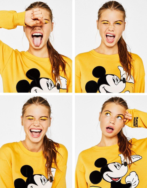 Disney Yellow Mickey Mouse Laughing T-shirt Girls