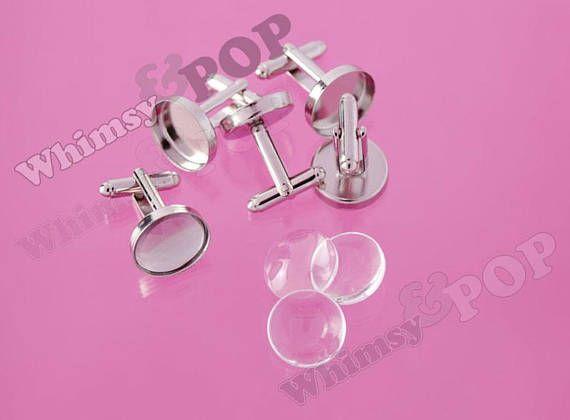 Silver Cufflink Setting Blanks Fits 18mm Cabochon Jewellery Making