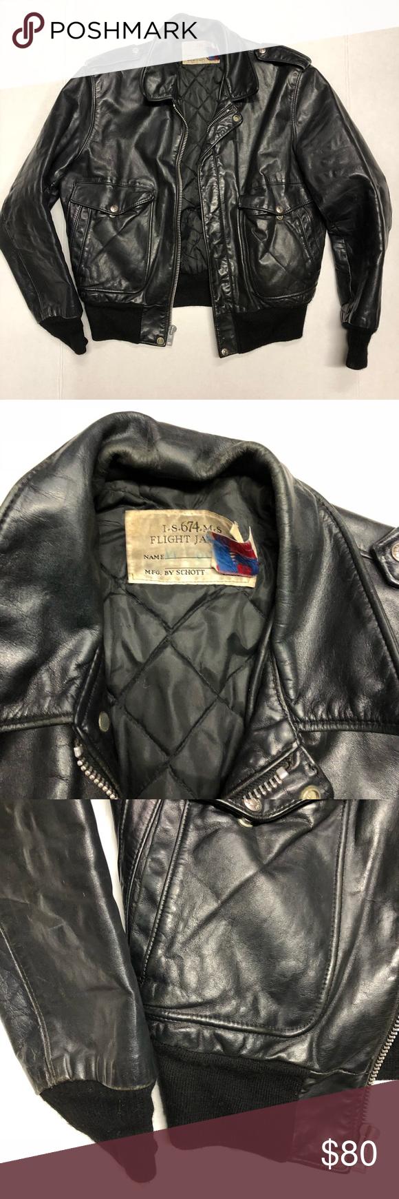 Vintage Schott Leather Jacket Size M Bomber Jacket Vintage Leather Jacket Jackets [ 1740 x 580 Pixel ]