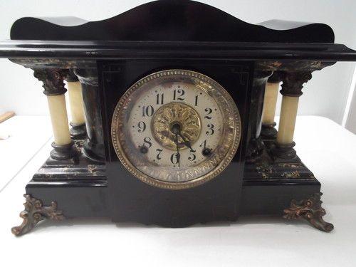 Old Antique Seth Thomas 4 Column Black Shasta Mantle Clock Restored Mantle Clock Clock Antique Clocks