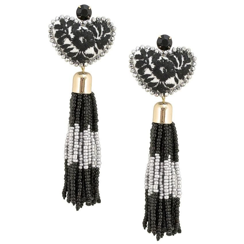db9cdda3904582 Black and White Embroidered and Tassel Mexican Earrings in 2019 ...