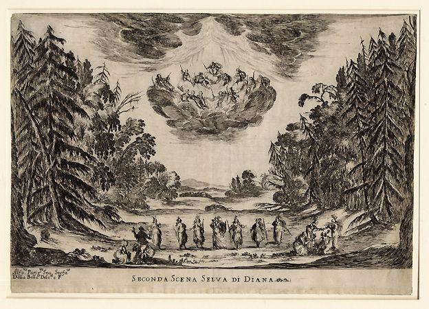 """Selva di Diana (1637), etching by Stefano della Bella (1610-1664), of the set design by Alfonso Parigi [the Younger] (1606-1656), for Scene 2 of """"Le Nozze degli Dei"""" (1637), by Marco da Gagliano (1582-1643)."""