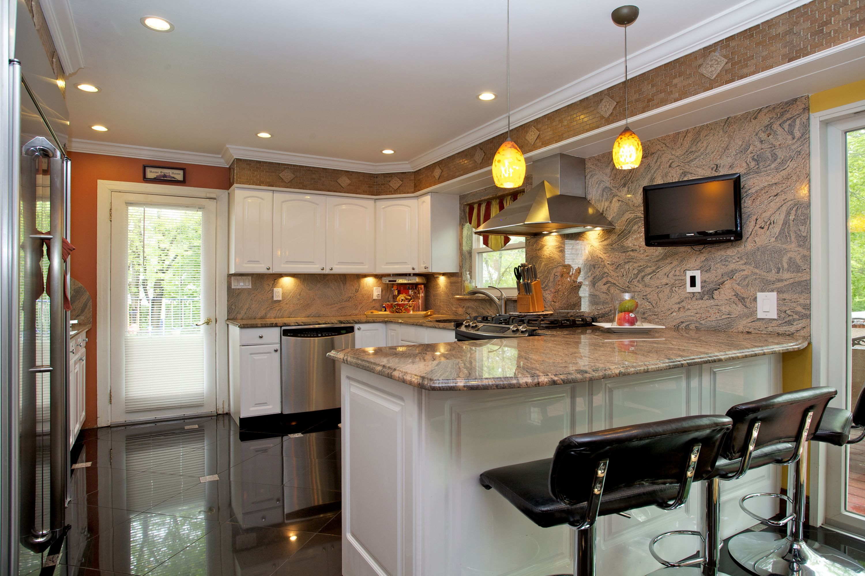 Kitchen In The Magnificent Built Brick Mason Stucco In Fair Lawn Nj Kitchen Brick Mason Home Decor