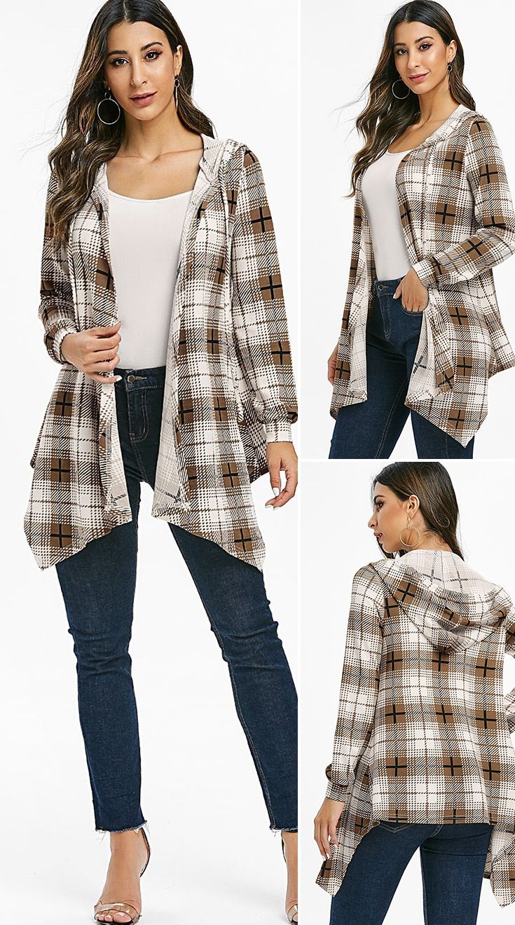Asymmetrical Open Front Plaid Hooded Cardigan HOT SALES