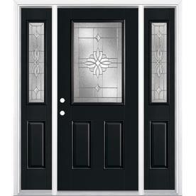 Masonite Laurel Half Lite Decorative Gl Right Hand Inswing Peppercorn Painted Fibergl Pre Hung Entry Door With Sid
