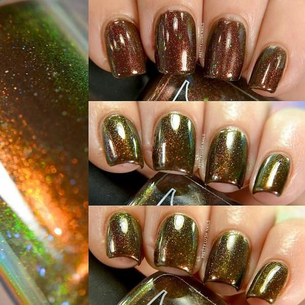 Sequoia Gigantea Chocolate Brown Jelly Polish With Flakies And Red To Green Pigment