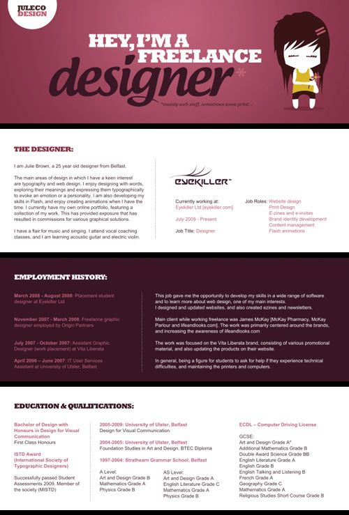30 Great Examples Of Creative CV Resume Design Creative cv - web design resume
