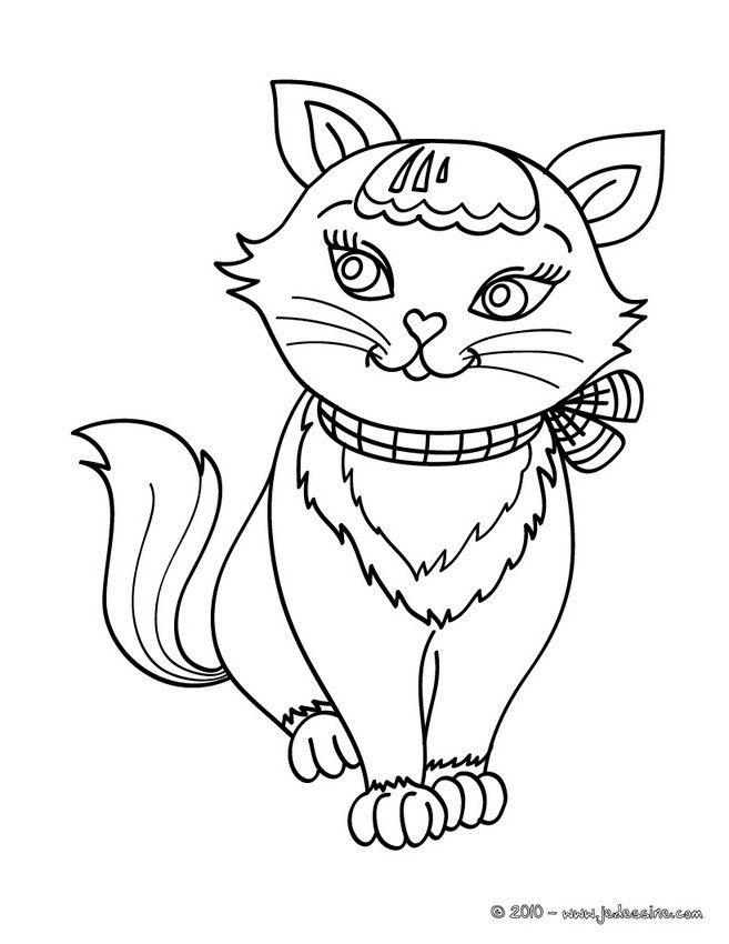 Souvent Colorie ce jolie petit chat tout mignon de plein de couleurs  VJ63
