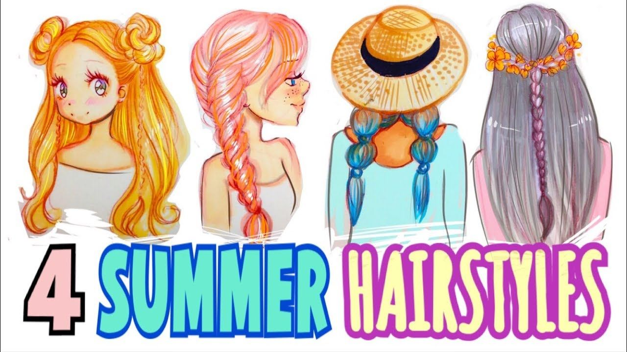 HOW TO DRAW  ☀️ 4 SUMMER HAIRSTYLES ✍  How to draw hair