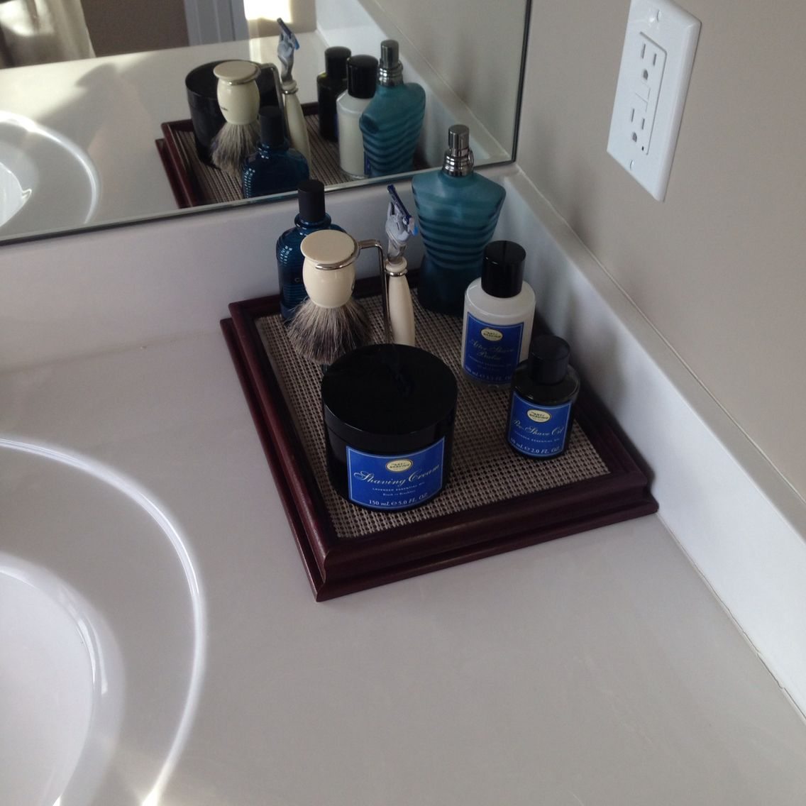 Picture Frame Turned Shave Cologne Tray Man Pinning Man Bathroom Cologne Tray Mens Bathroom Decor