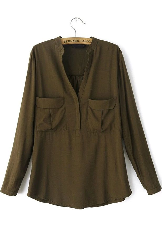 Army Green Long Sleeve Pockets Loose Blouse 22.17