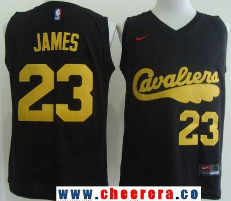 Men's Cleveland Cavaliers #23 LeBron James 2017 Black With Yellow Fashion Stitched  NBA Nike Basketball. Basketball JerseyNike BasketballGelb ...