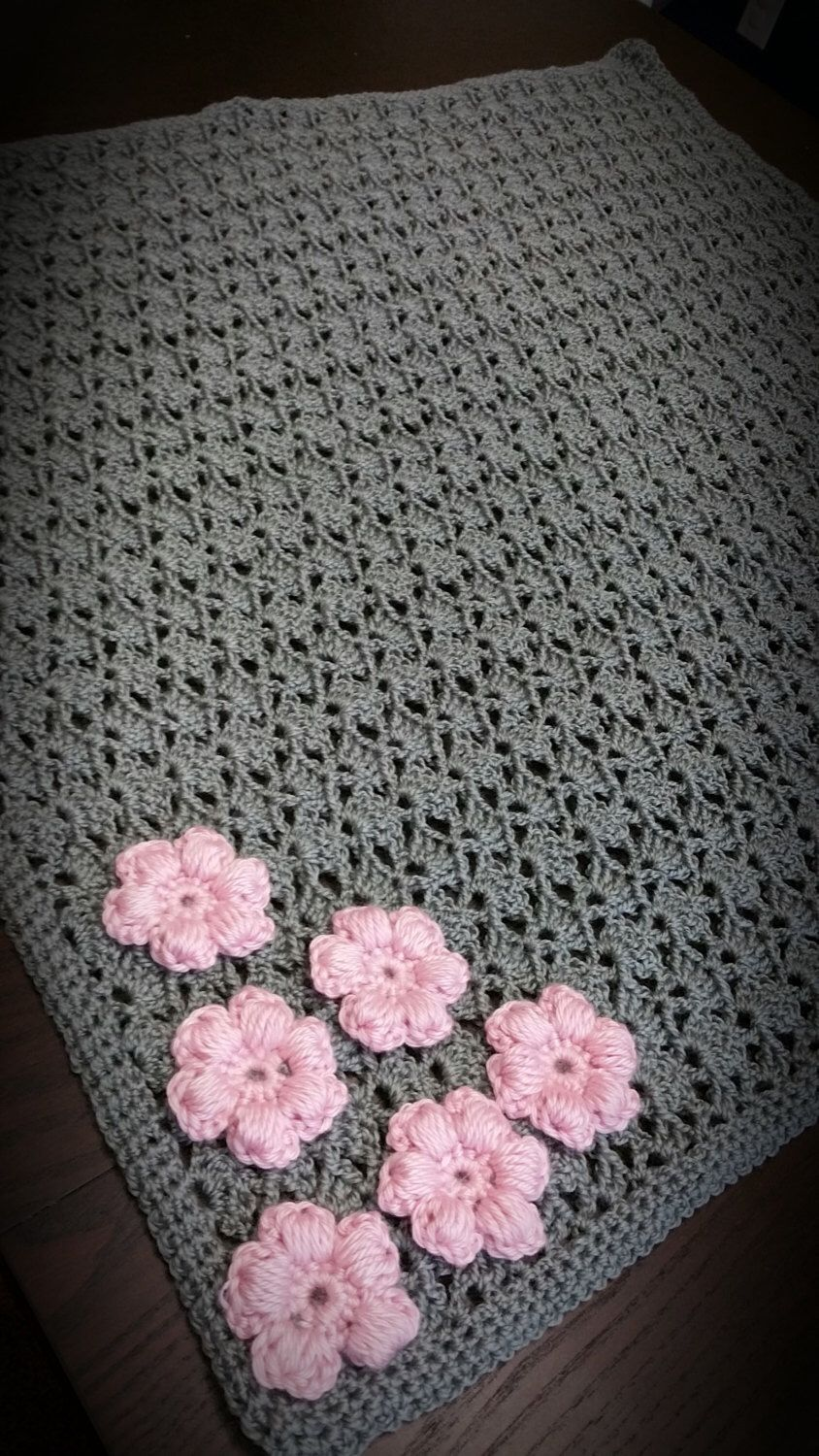 Beautiful Handmade Crochet Baby Girl Gray Blanket With Pink Flower