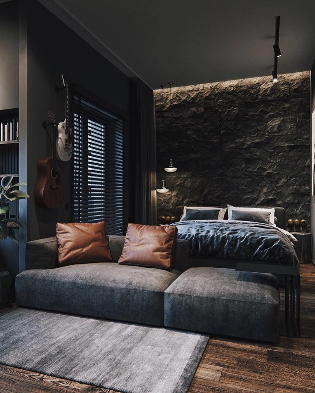 "iSetups on Instagram: ""Blacked-Out Bedroom 💣 📸: @skar.design""  La imagen puede contener: personas sentadas, sala de estar e interior  #Bedroom #BlackedOut #Instagram #iSetups #skardesign"