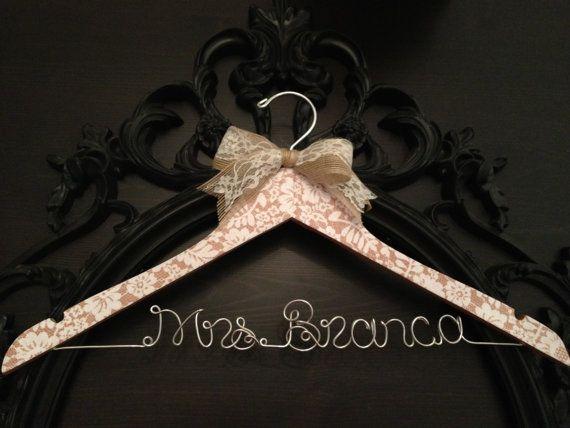 Lace Hanger, Bridal Hanger, Faux Lace Bride Hanger, Wedding Hanger, Rustic Hanger, Burlap Hanger, Personalized Hanger, Rustic Wedding on Etsy, $38.00