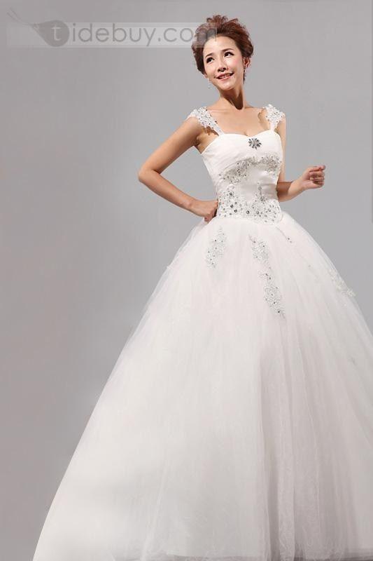 Aライン ストラップレス ビーズ ロング ウェディングドレス