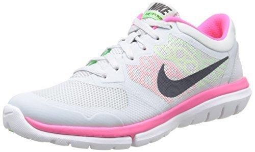 Nike Womens Flex 2015 Rn Running Shoe (7.5 White/Pink/Green)