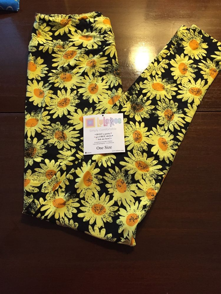 746c03627f4864 Details about LuLaRoe Womens Leggings Green w Yellow Red Flower ...