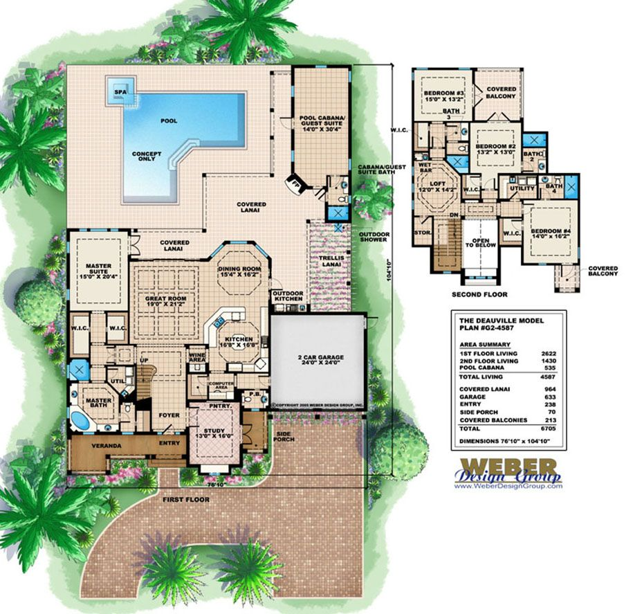 California House Plan 2 Story California Style Home Plan With Pool In 2020 Beach House Plans Coastal House Plans Beach House Plan