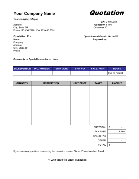 Price Quotation Format Template Sample Form Biztreecom Biztree