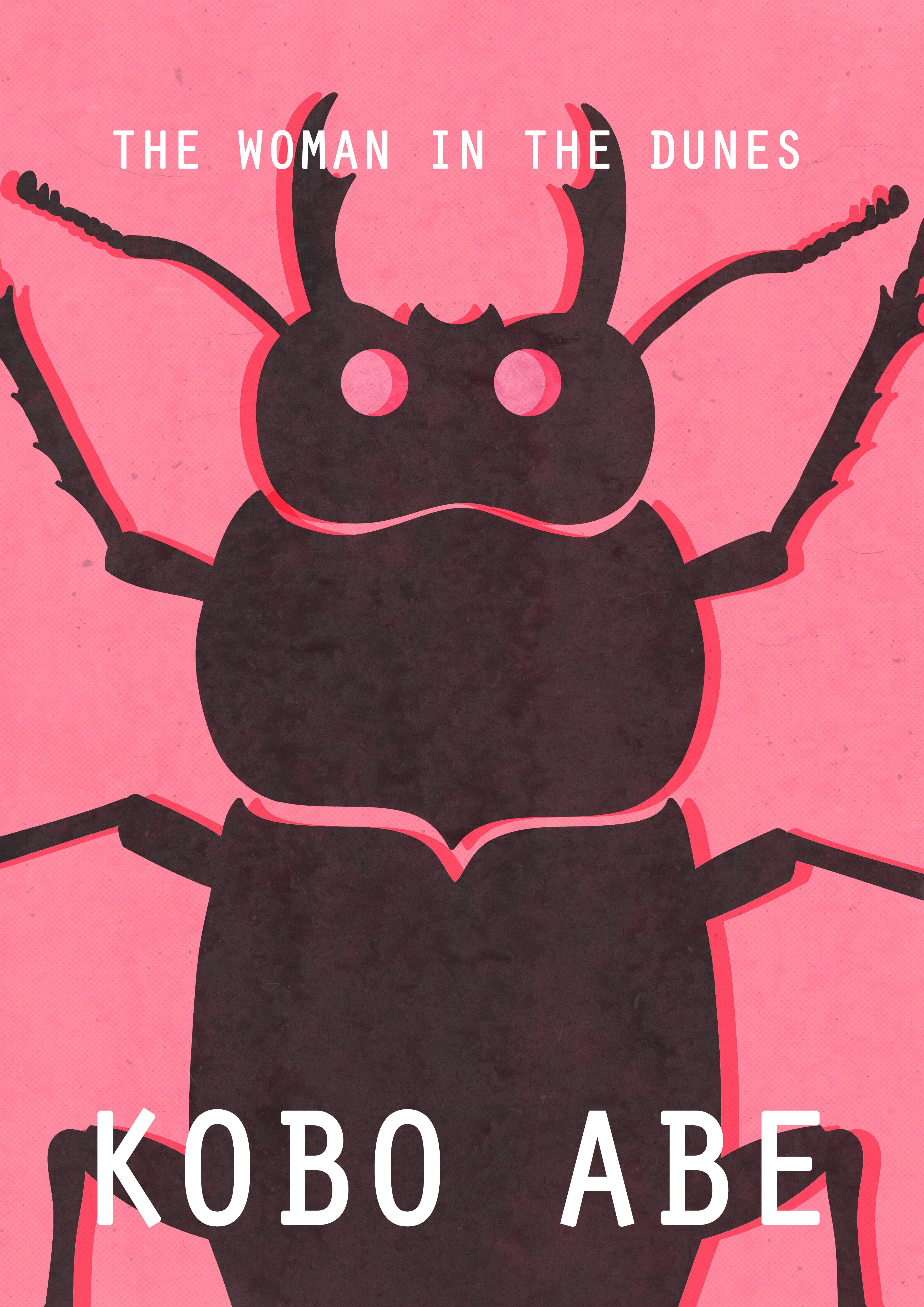 #Woman #Dunes #Kobo #Abe #Design #Book #cover #illustration #beetle #pink #modern #insect #graphic #design #art #creative