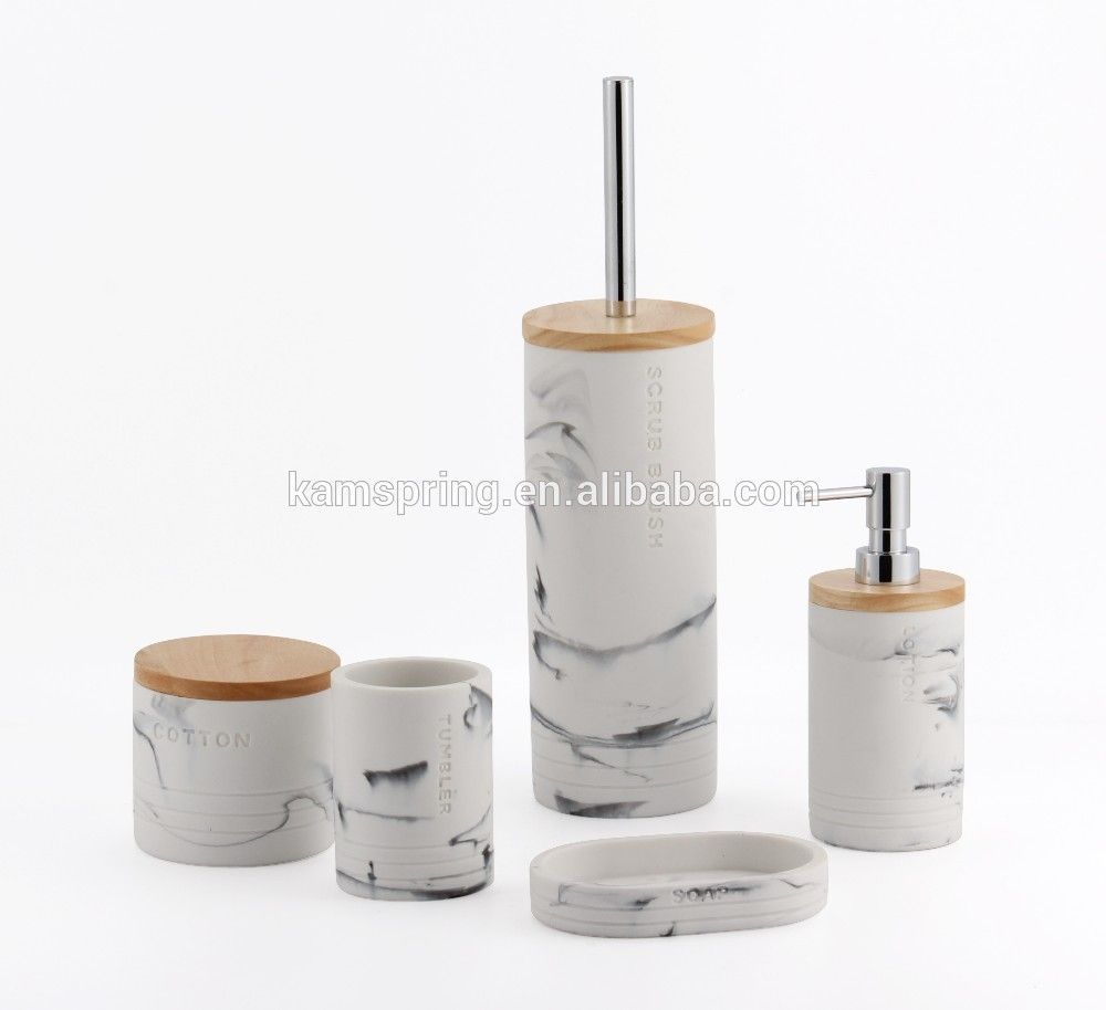 Poly Resin Bathroom Accessories Set With Bamboo And Clear Lettering ...