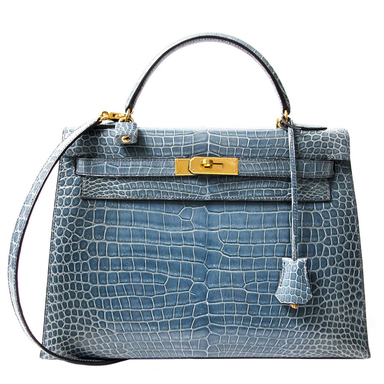 Rare Hermes Blue Jean P orosus Crocodile 32 Kelly GHW very nice but no way  would I pay the price tag on this one!  47850 193306840678e