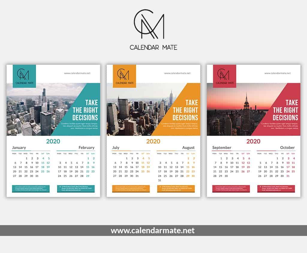Brick is a free creative calendar design PSD file complete for
