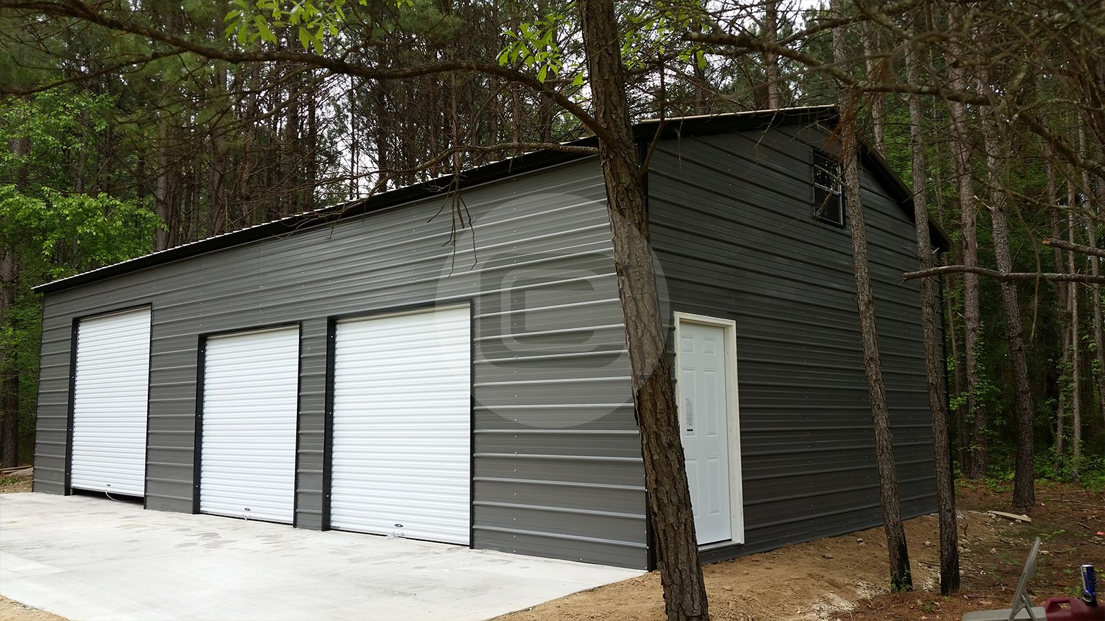 24 x 46 x 12 vertical roof style side entry metal garage x x vertical roof style side entry metal garage featuring x x roll up garage doors x window and x walk in door rubansaba