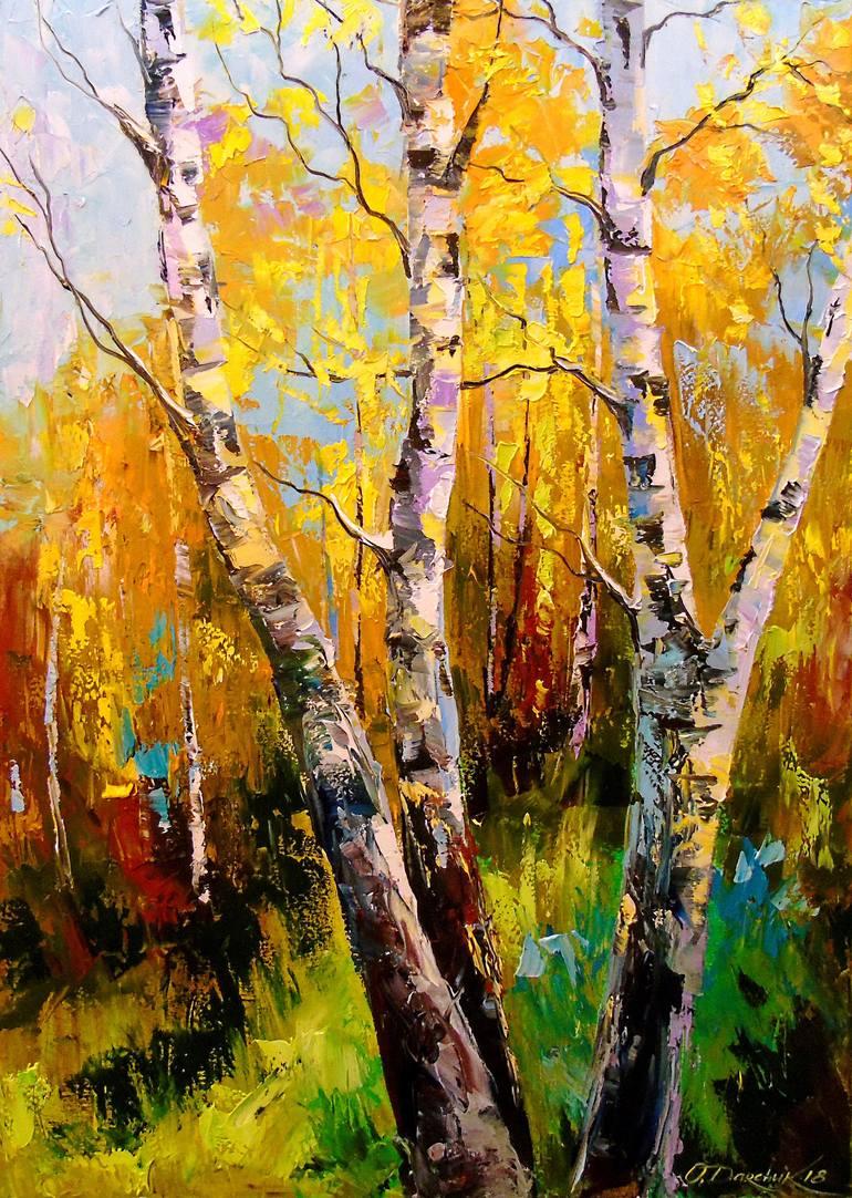 Birch Trees Art Print Birch Trees Painting Abstract Tree Painting Birch Tree Art