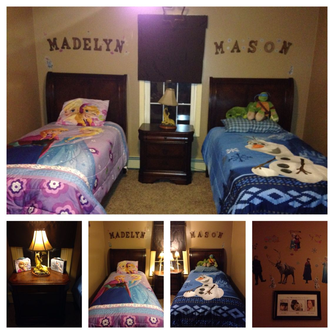 brother sister shared bedroom frozen theme toddler