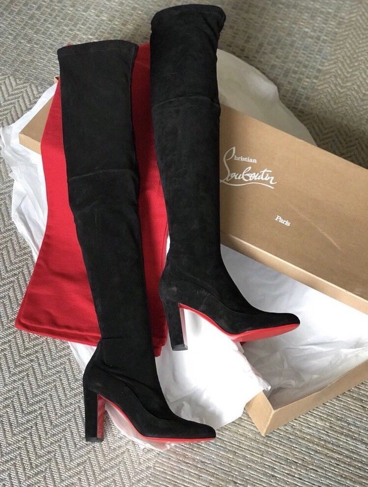 2278f20f0d9 NEW CHRISTIAN LOUBOUTIN Kiss Me Gena 85 Suede Black Leather Boots Stretch  EU39  fashion  clothing  shoes  accessories  womensshoes  boots (ebay link)
