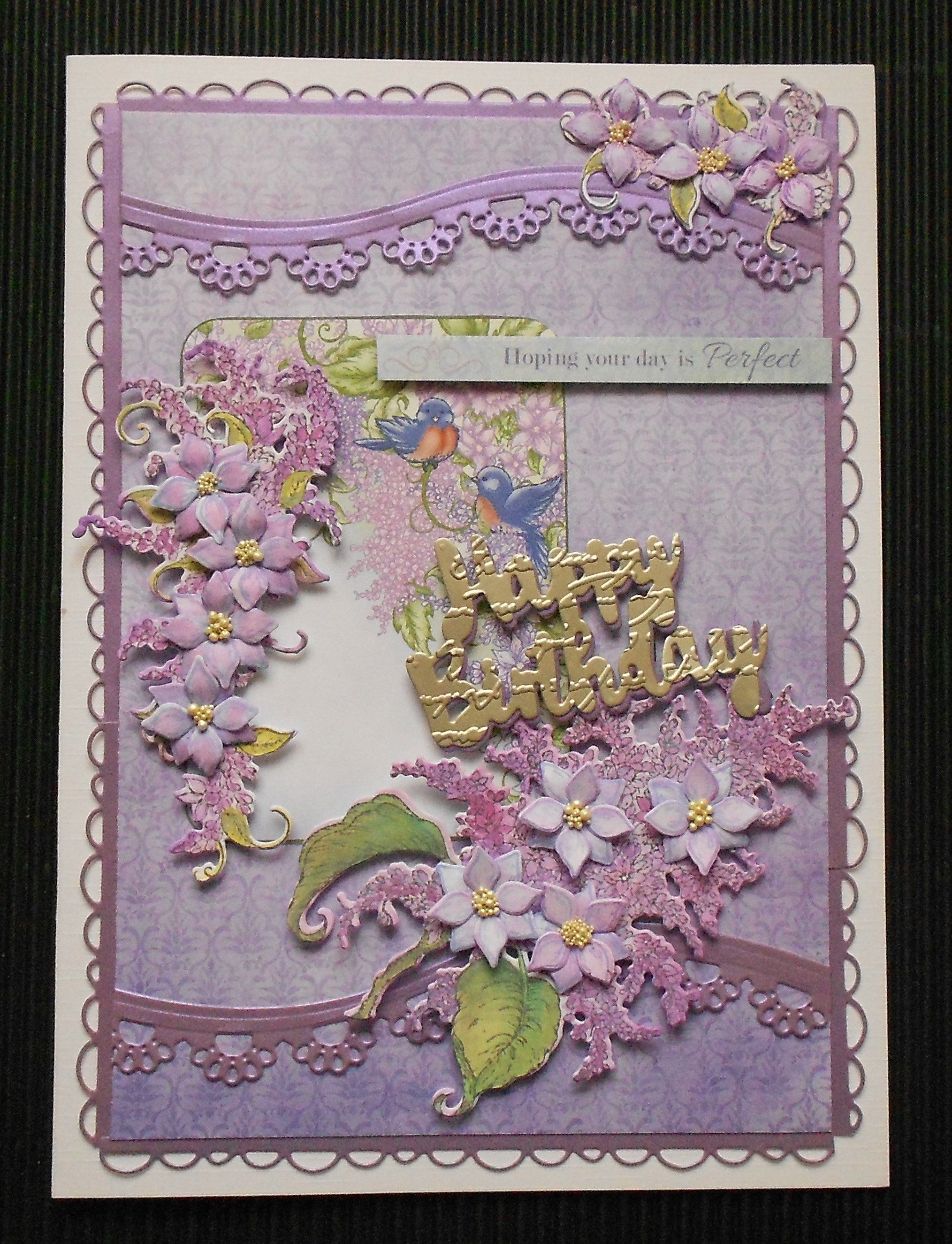 Hand made layered lush lilac flowers birthday card d floral