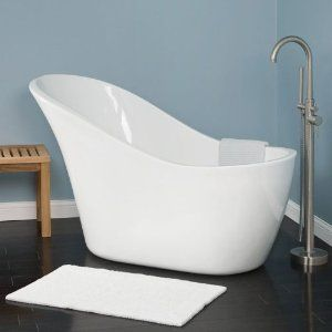 Freestanding Tub With Faucet Holes. Amazon com  61 Medlin Freestanding Acrylic Slipper Tub No Overflow or Faucet